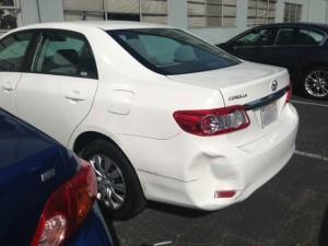 Car Bumper Before Paintless Dent Repair